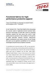 Functional fabrics for highperformance protective apparel Trans-Textil