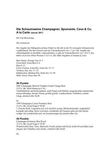 Die Schaumweine Champagner, Spumante, Cava ... - Wienothek 18.