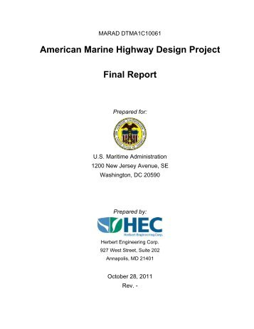 American Marine Highway Design Project Final Report - Maritime ...
