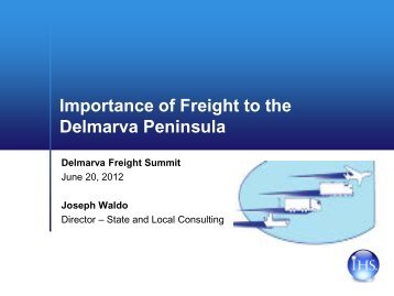 Importance of Freight to the Delmarva Peninsula