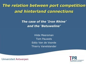 The Relation Between Port Competition And Hinterland ... - UNECE