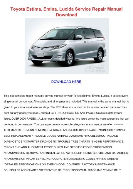 Toyota Estima Emina Lucida Service Repair Manual Download