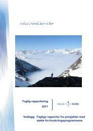 Faglig rapportering (prosjektrapporter) - Helse Nord