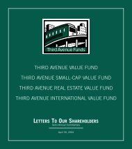 letters to our shareholders - Third Avenue Funds