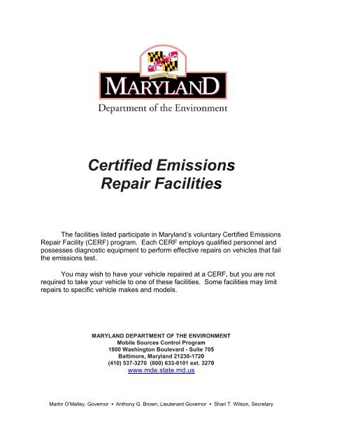Certified Emissions Repair Facilities - Maryland Department