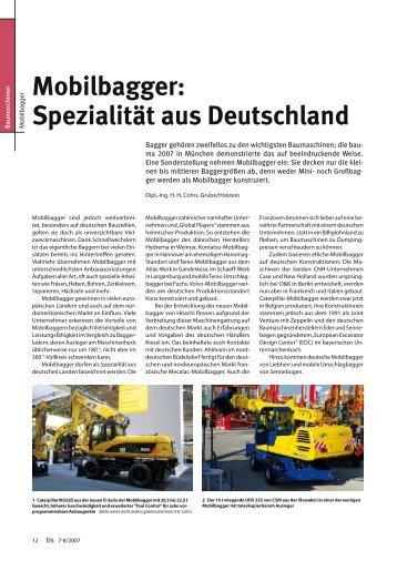 Mobilbagger: Spezialität aus Deutschland - Bauverlag