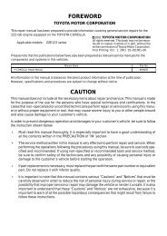 TOYOTA COROLLA ENGINE MANUAL 2ZZ-GE RM929E - Index of