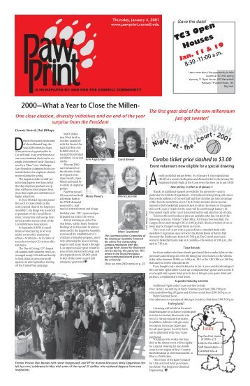 2000—What a Year to Close the Millen- - Pawprint - Cornell University