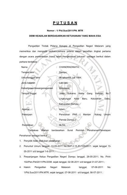 Putusan Pengadilan Negeri Mataram