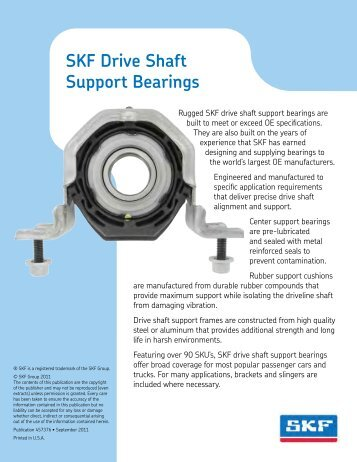 SKF Drive shaft support bearings (457376) - SKF.com