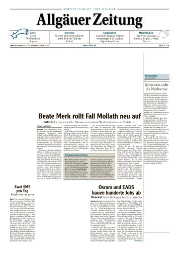 Allgäuer Zeitung, Kempten vom 01.12.2012 - Allgäuer Zeitung als ...