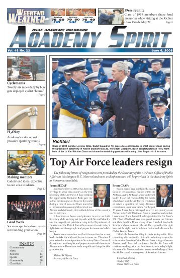 Top Air Force leaders resign - United States Air Force Academy