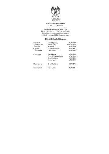 2012 golf program - Cowra Golf Club