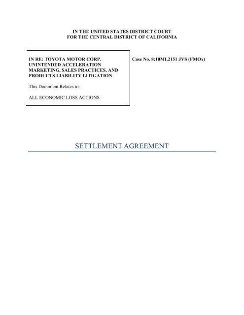 Settlement Agreement Wall Street Journal