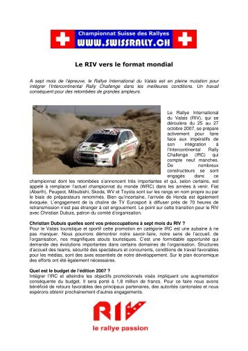 Le RIV vers le format mondial - Championnat suisse des rallyes