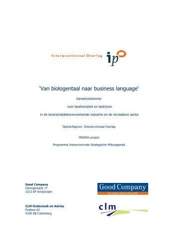 'Van biologentaal naar business language' - Interprovinciaal Overleg