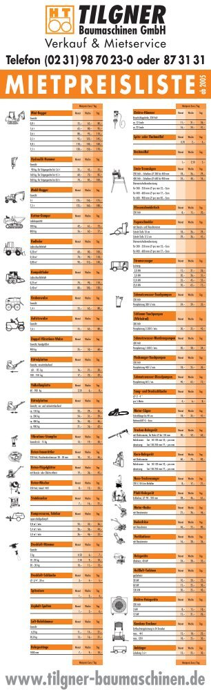 Mietpreisliste - Tilgner Baumaschinen GmbH