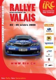 Règlement particulier RIV 2008 - Championnat suisse des rallyes
