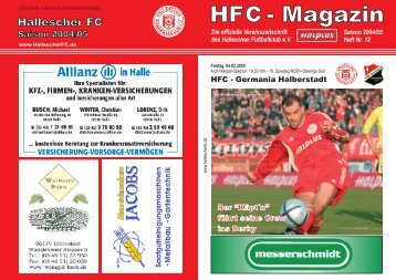 HFC - VfB Germania Halberstadt - Hallescher FC