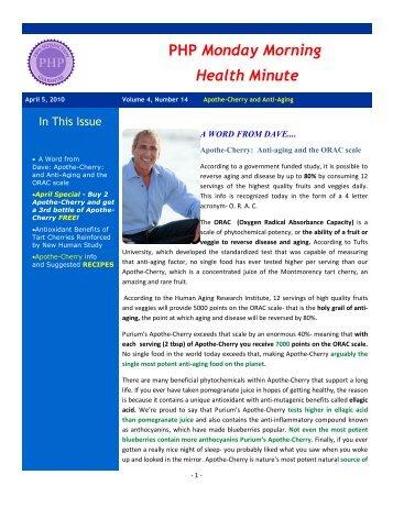 PHP Monday Morning Health Minute - Exigo