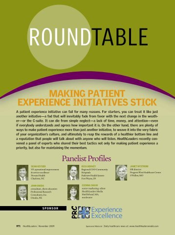 MaKinG paTienT expeRience iniTiaTiveS STicK - HealthLeaders ...