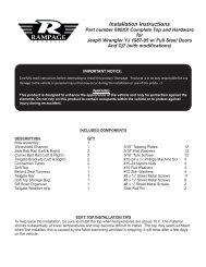 YJ full steel door top instruc - Rampage Products
