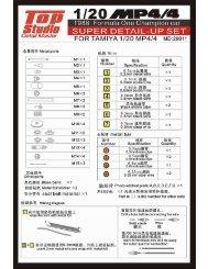 MD29011: 1/20 MP4/4 Super Detail-up - Top Studio