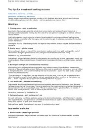 Top tips for investment banking success Warnings ... - Pottinger