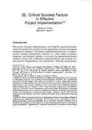 20. Critical Success Factors in Effective Project implementation*+