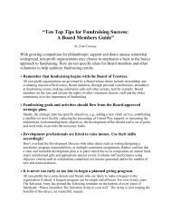 Ten Top Tips for Fundraising Success - Conway Company, LLC