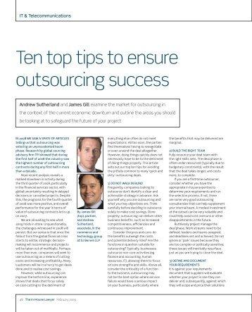 Ten top tips to ensure outsourcing success - SJ Berwin