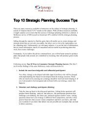 Top Ten Strategic Planning Success Tips - Synergy Work Solutions