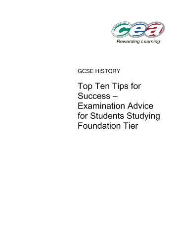 Top Ten Tips for Success – Examination Advice for Students ...