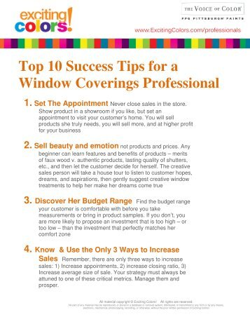 Top 10 Success Tips for a Window Coverings ... - Deb Barrett