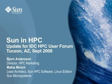 Sun in HPC - HPC User Forum