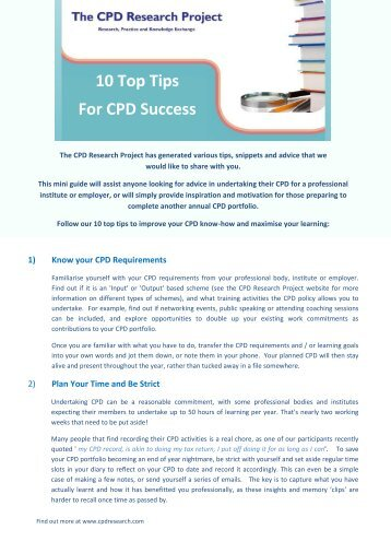 10 Top Tips For CPD Success