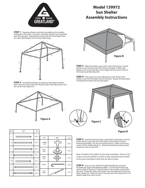 Model 139972 Sun Shelter Assembly Instructions Quik Shade