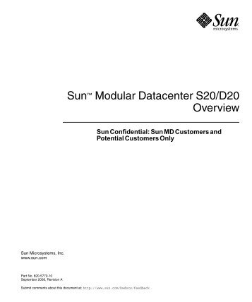Sun Modular Datacenter S20/D20 Overview - Oracle Documentation