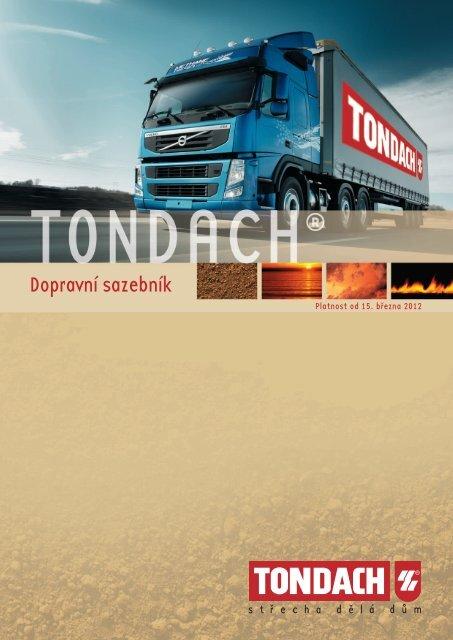 dopravní sazebník Tondach - TRIMOT