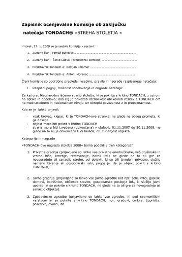 Zapisnik ocenjevalne komisije ob zaključku natečaja TONDACH ...