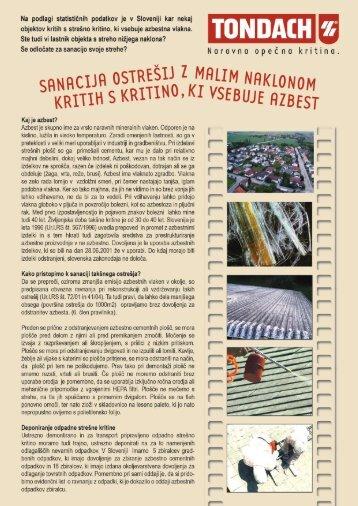sanacija strehe - azbest - Tondach