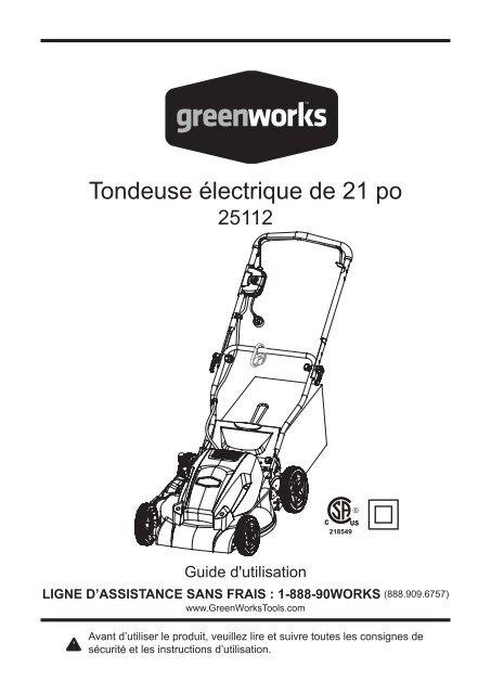 Tondeuse électrique de 21 po - GreenWorks 89d03e6f525e