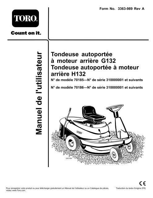 Tondeuse Autoportée à Moteur Arrière G132 Tondeuse
