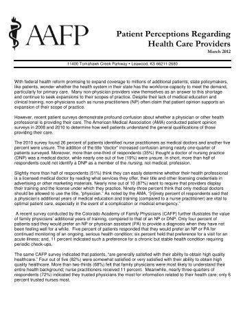 Patient Perceptions Regarding Health Care Providers - American ...