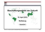 Beschaffungsmärkte der Zukunft - Volkswagen AutoUni