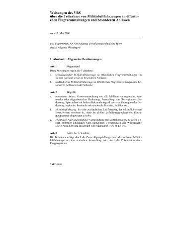 Weisungen des VBS über die Teilnahme von Militärluftfahrzeugen ...
