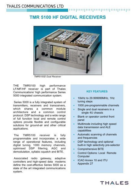 TMR 5100 HF DIGITAL RECEIVERS - Premium-Rx