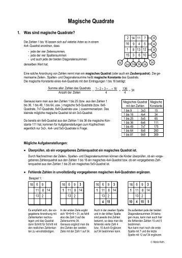 Magische Quadrate II