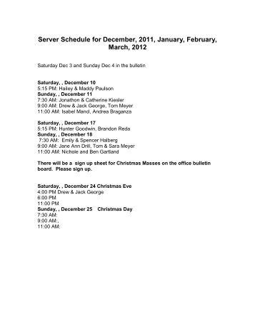Server Schedule for December, 2011, January, February, March, 2012