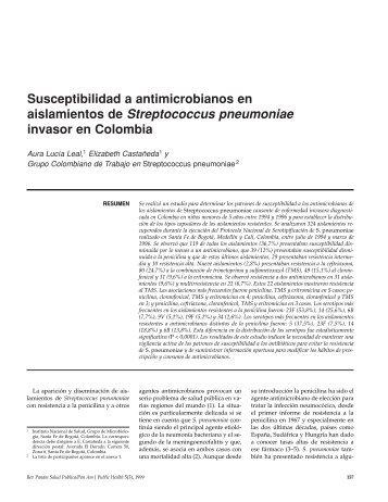 Susceptibilidad a antimicrobianos en aislamientos de ... - SciELO